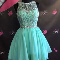 Mint Homecoming Dress, A-Line Beading Homecoming Dress , Short Prom Dress
