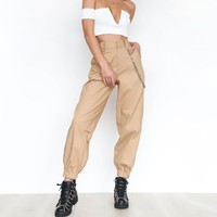 Khaki Cargo Pants With Chain