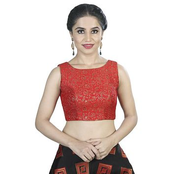 Designer Indian Traditional Red Brocade Silk Padded  Sleeveless Saree Blouse Choli (X-488.As)
