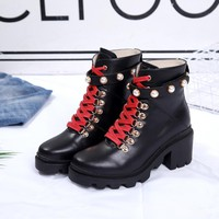Ready Stock Gucci Women's Leather Boots Shoes #791