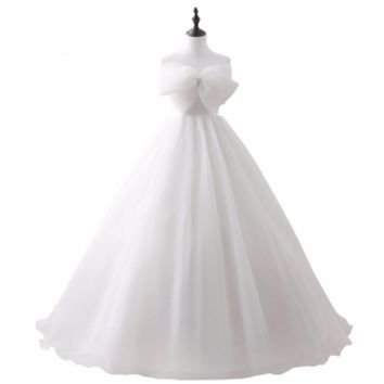 White Ivory Ball Gown Wedding Dresses with Bow Sexy Lace Up Back Long Floor Length Bridal Gowns