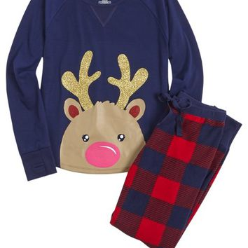 REINDEER PAJAMA SET | GIRLS PAJAMAS SLEEPWEAR | SHOP JUSTICE