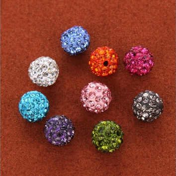 20pcs&20 Colors Round Crystal Rhinestones Pave Clay Czech Disco Ball Spacer Bead