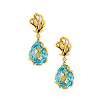 Sea Leaf 18k Blue Topaz & Diamond Drop Earrings