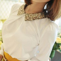 Pretty Sequins Collar White Shirt. Ladies Long Sleeves Work Top