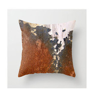 Ivory Rust Peeling Paint Industrial Rust Urban Art Modern Art Decor Edgy Decor in Ivory and White Rust Throw Pillow Cover