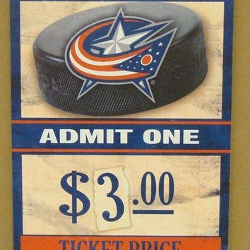 "COLUMBUS BLUE JACKETS GAME TICKET ADMIT ONE GO BLUE JACKETS WOOD SIGN 6""X12''"