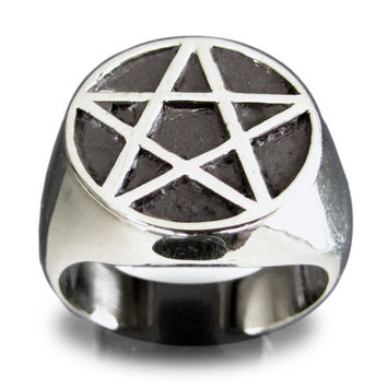 Sterling Silver Pentacle Ring Celtic Pentagram Symbol Wiccan Jewelry