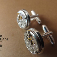 10% off HOLIDAY SALE Coupon code:CHRISTMAS13 Steampunk Cufflinks 16mm round vintage Chaika watch movements. Vintage upcycled mens Cuff Links