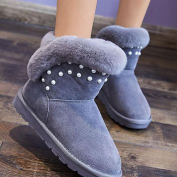 New Grey Round Toe Pearl Flat Casual Boots