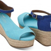 Blue Mix Vegan Women's Platform Wedges