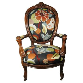 Pre-owned Antique Armchair with Floral Upholstery