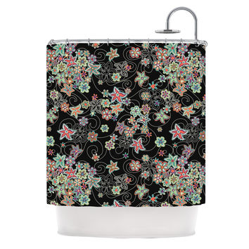 "Julia Grifol ""My Small Flowers"" Black Floral Shower Curtain"