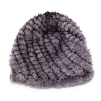 Mink Fur Tails Hat, Blue Iris - Jocelyn - Blue iris