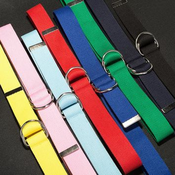 HooltPrinc 110cm long D ring buckle belt Harajuku zipper all-match ultra long canvas belt lovers brief solid color long belt
