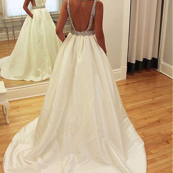 [178.99] Simple Satin V-Neck A-Line Wedding Dresses With Beadings & Rhinestones - dressilyme.com