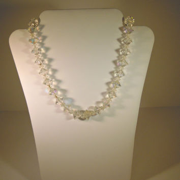 1950s Crystal Bead Choker Necklace Clear AB Faceted Bridal Bride