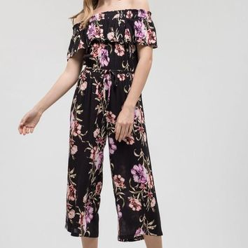 Off Shoulder Floral Jumpsuit - Black Multi