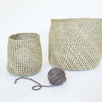Round Open Weave Baskets, natural