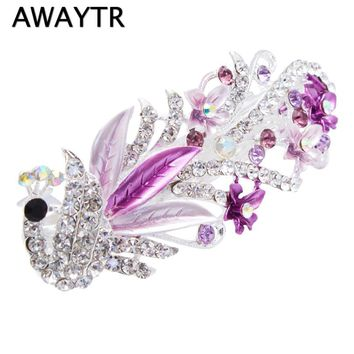 AWAYTR Women Colorful Shinning Rhinestones Peacock Hair Clips Hairpins 2017 Girls Hair Accessories Crystal Hair Barrettes