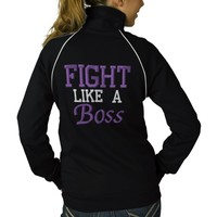 Fight Like a Boss Pancreatic Cancer Awareness Embroidered Track Jackets   Zazzle