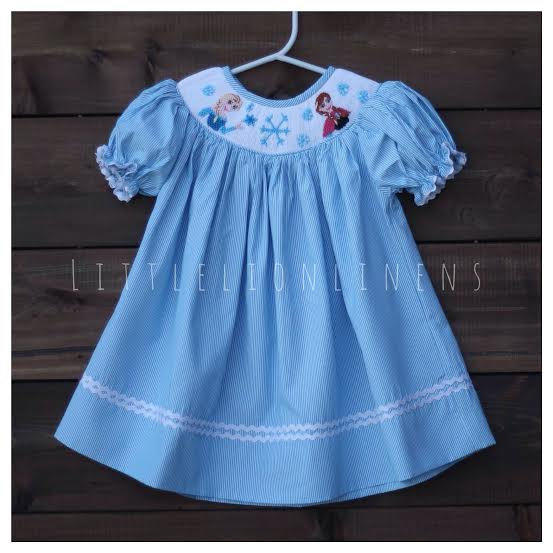 Frozen smocked blue striped ice Disney from ...