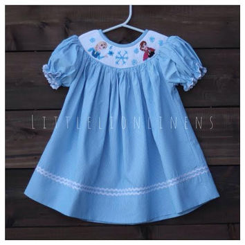 Frozen smocked blue striped ice Disney princess bishop girls birthday dress outfit Anna Elsa Olaf baby toddler girl clothing