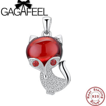 925 STERLING SILVER JEWELRY MARCASITE JEWELRY DIY ACCESSORIES RED GARNET FOX MICROPAVE CHARM FIT FOR NECKLACE OR BRACELET CP0120