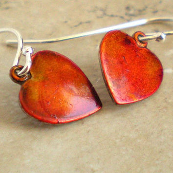 Heart Earrings: Orange - Heart Jewelry - Orange Heart Jewelry - Dangle Earrings - Valentine Heart - Sterling Silver - Valentine Gift