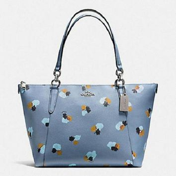 DCCK8X2 New COACH F55192 AVA Field Floral Canvas Tote Handbag Purse Shoulder Bag Cornflower B