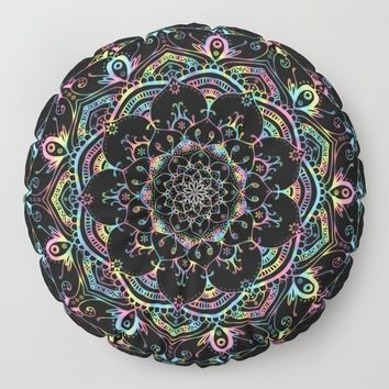 Transcendental Dream Coloured Mandala Design Floor Pillow by inspiredimages