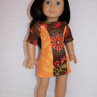18 inch doll clothes, Ascot dress,orange and brown dress, floral print dress,  american girl, Maplelea