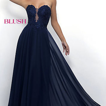 Strapless Sweetheart Long Prom Gown with Lace Bodice