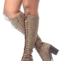 Beige Faux Leather Lace Up Knee High Peep Toe Boots