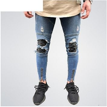 Zipper Ripped Pencil Jeans
