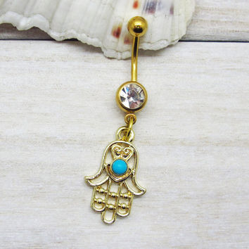 Gold hamsa belly button ring , blue evil eye belly button ring, hamsa hand charm, navel piercing, belly button ring jewelry,unique gift