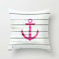 Neon Pink Nautical Anchor Striped Wood Throw Pillow