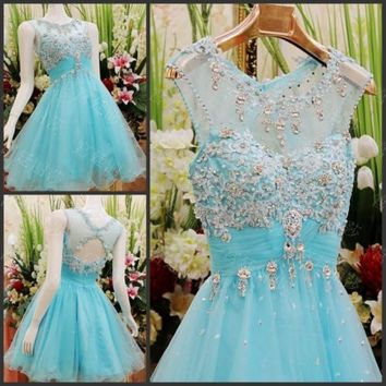New Blue Tull Beaded Short Mini Party Dress Homecoming Prom Cocktail Glass drill