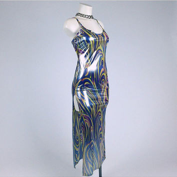90's Shimmer Swirl Metallic Maxi Dress