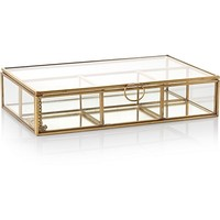 Medium Gold & Glass Mirrored Jewellery Box | Oliver Bonas