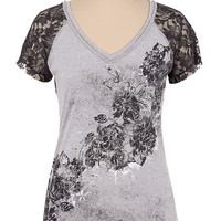 Maurices Premium Lace Sleeve Embellished Rose Tee