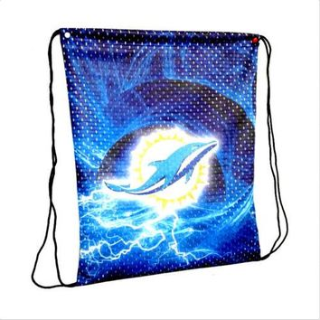 Miami Dolphins Drawstring Bags Men Sports Backpack Digital Printing Pouch Customize Bags 35*45cm Sports Fan Flag