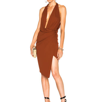 Alexandre Vauthier Stretch Jersey Sleeveless Wrap Dress in Cognac | FWRD