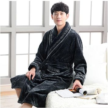 Thicken Coral flannel Bath Robe Winter Casual Long Bathrobes Men Sleepwear Robes