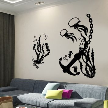 Wall Decal Undersea Anchor Jelly Fish Sea Horse Marine Decor Unique Gift z3984
