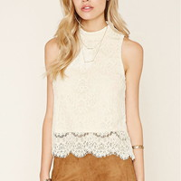 Eyelash Lace Mock Neck Top