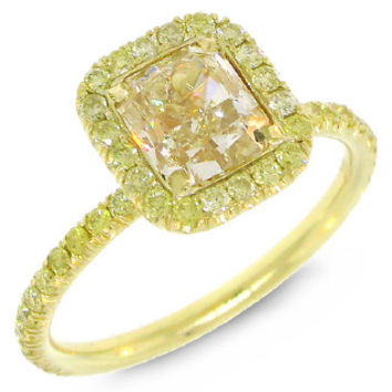 1.51ct Radiant Cut Center and 0.46ct Side 18k Yellow Gold Natural Yellow Diamond Ring