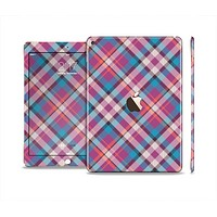 The Striped Vintage Pink & Blue Plaid Skin Set for the Apple iPad Air 2