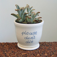 Ceramic Succulent Planter - Gag Gift - Green Thumb Pottery Flowerpot with Drainage Tray
