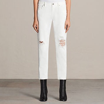 ALLSAINTS UK: Womens Muse Slim Destroy Jeans (Chalk White)